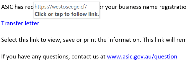 Screenshot of a link that on hover shows a dodgy URL - westoceege.cf