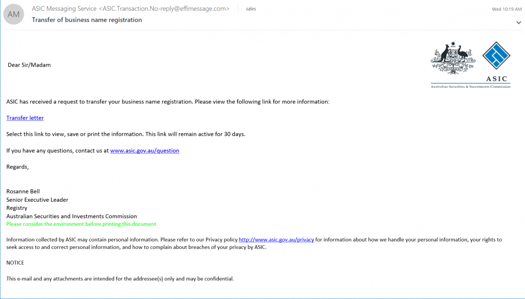 A screenshot of a scam email allegedly from ASIC discussing a request to transfer a business name registration.
