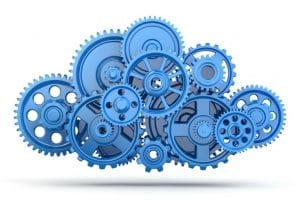 graphic of a cloud made from blue gears