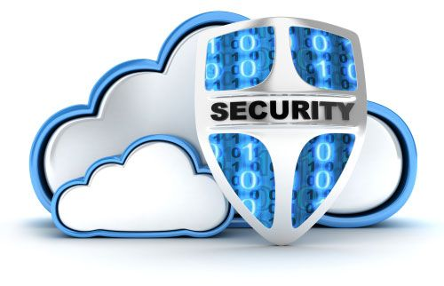 Graphic of shield decorated with binary code and the word Security in front of clouds.