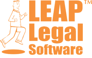Full height logo for LEAP legal software package with man running and the words LEAP Legal Software